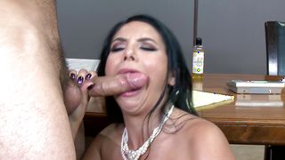 Engaging busty Missy Martinez got down on her knees and played with lad's pipe