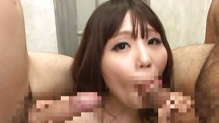 Alluring perfection Rion Nishikawa with massive tits is sucking a huge dinky and enjoying it a lot