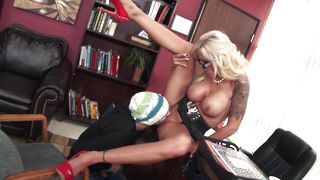 Mesmerizing blonde Nina Elle with massive tits is eager to blow a big python