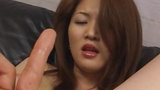 Adorable beauty Yuki Touma with curvy tits loses her mind while riding a huge dink
