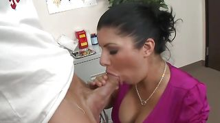 Fascinating busty latin Sativa Rose is eager to drool on a thick phallus