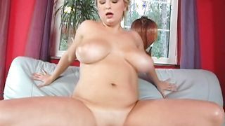 Lewd busty blonde honey Veronika jerks a fucker's throbbing penis