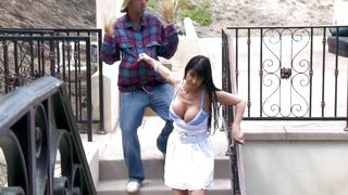 Mischievous Eva Karera with huge tits laughs at hard rod but rides it anyway