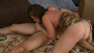 Once on the dick frisky busty brunette chick is just feeling the warmth