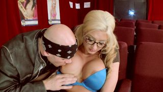 Playsome busty blonde sweetie Leya Falcon was eager to sit on that fat boner