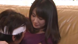 Wonderful busty beauty Marie Kimura and her handsome fucker rub each other's