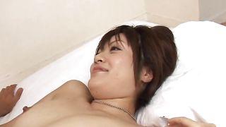 Stunning maid Yuki Hibino with impressive tits receives a huge schlong in her cuch