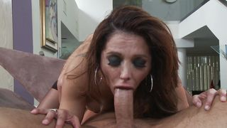 Awesome busty latin Francesca Le gives a blowjob to her hot experienced male