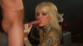 Lewd busty blonde Janine Lindemulder gets intensely slammed in doggy style