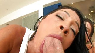 Inviting Monica Santhiago with huge natural tits getting her cherry fucked hard and sweet