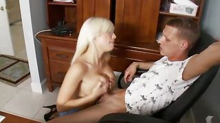 Worshipped blonde maid Britney Amber with large tits gets her juicy tight holes ready for banging