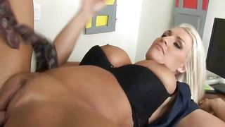 Sinful busty Sadie Swede gets her skinny copher drilled hard
