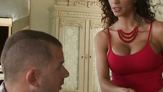 Charming latin brunette Ariella Ferrera with large tits sucks a nice prick after being licked