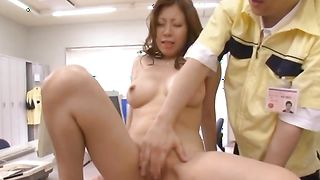 Cute busty Chihiro Akino with wet beaver is horny and hot