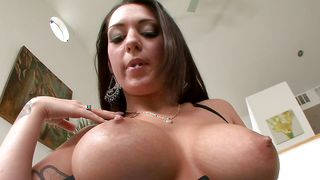 Admirable brunette lady Melina Mason with big tits have a fuck session