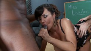 Alluring Lisa Ann with firm tits wants to be a pro but first she has to get fucked hard