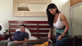Heavenly floosy Romi Rain with large tits is whimpering while being roughly plowed in doggy style