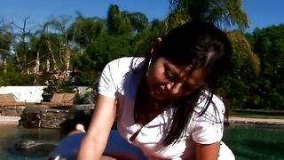 Nasty latin Evie Delatosso with firm tits enjoys riding a pulsating shlong