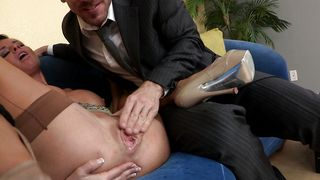 This big packing monster is too thick for adorable busty babe Veronica Avluv's petite mouth