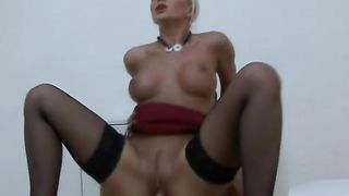 Hot-tempered busty blonde Cindy Dollar bounces on thick donga like a wild beast