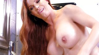 Glorious busty housewife Diamond Foxxx rubs her clit while being doggy styled