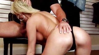 Appetizing busty blonde girlfriend Kinzie Fox jumps wildly on one fat cock