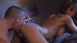 Exquisite redhead woman with massive tits got fucked in the wet pussy by man
