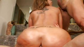 Mouthwatering busty Kelly Divine is sucking bf's shaft like a pro and getting fucked hard in return