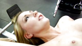 Spicy busty blonde woman Missy Woods rides up fat shlong and starts performing rodeo on it