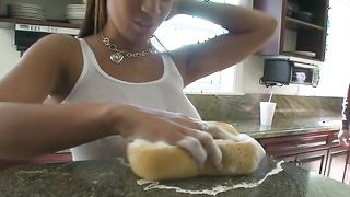 Lusty busty latin Natasha Dulce is sucking a rock hard fuck stick free of charge and getting fucked in return