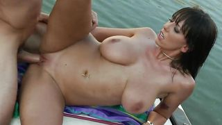 Elegant Alia Janine with round tits receives a meat in her fanny