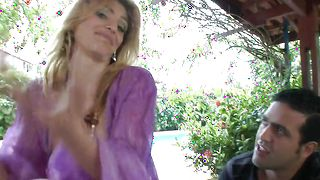 Ravishing Graziella Fantini with massive tits enjoys slobbering on a big shaft before riding it