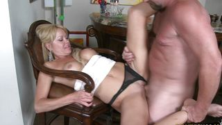 Elegant busty sweetie Jenny Hamilton squirms while being doggy styled