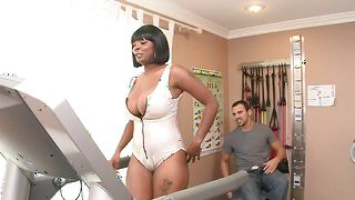 Prodigious busty Stacy Adams receives a thorough sissy diving before being intensely drilled