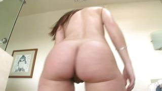 Naughty brunette Jordana with great tits reaches an orgasm and she is satisfied