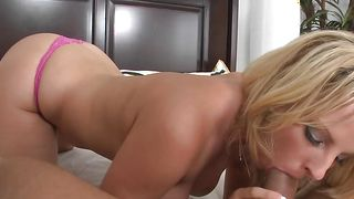 Divine busty blonde maid Stephanie Blaze with a wet beaver is lying and deepthroating like a pro