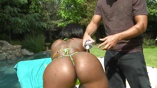 Filthy Ebony gal Ebony with large tits gags on a perfect love rocket