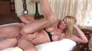 Appealing blonde cutie Tara with large tits is riding a huge chopper
