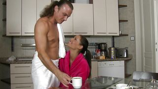 Luxurious busty brunette woman Satin Bloom whimpers on a throbbing stick