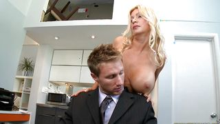 Classy busty blonde babe Ingrid Swenson and fucker are fucking like wild animals in the middle of the day