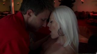 Needy beautiful busty blonde Kacey Villainess works phallus in the poontang and mouth hard