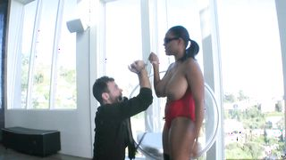 Lovely ebony Alia Starr with big tits whimpers while being plowed for all she's worth