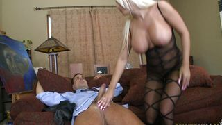 Magnificent girlie Jacky Joy with curvy tits impales her juicy vagina on hard tool