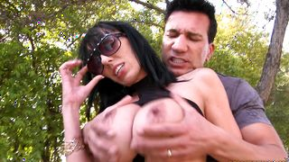 Delicious brunette Alia Janine with great tits and lad having good times and are about to fuck