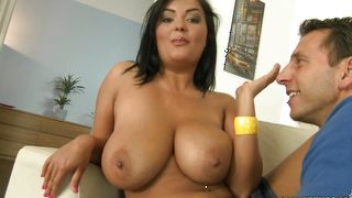 Naughty busty Jasmine Black swallows bf's huge rod