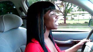 Insatiable busty ebony Jacqui Banks playfully sucks and fucks