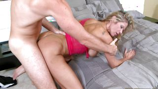 Attractive busty Crystal is having a great time together with a guy
