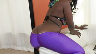 Ambitious busty ebony Sally gets down and sucks her male's big dangler