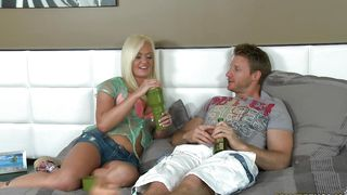Glorious blonde sweetie Whitney Grace with massive tits rides the guy's hard rod wildly