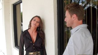 Passionate brunette Leena Sky with round tits is passionately fucking her attractive fellow